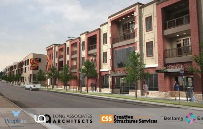 People Inc. is working with Nick Sinatra and David Pawlik of CSS Construction to put up a mixed-income complex on a pair of empty blocks at 1140 and 1166 Jefferson.