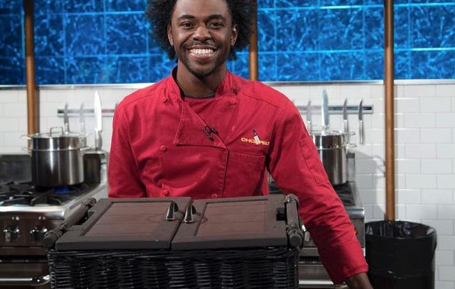 """After winning his first """"Chopped"""" match, Buffalo State alumnus Lazarus Lynch will appear on Food Network's """"Chopped"""" on April 25. (image via Chopped)"""