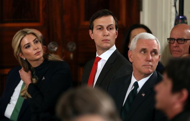 Ivanka Trump, Jared Kushner, center, and Vice President Pence look on during a joint press conference with President Trump and German Chancellor Angela Merkel in the East Room of the White House on March 17, 2017. Photo by Justin Sullivan/Getty Images)