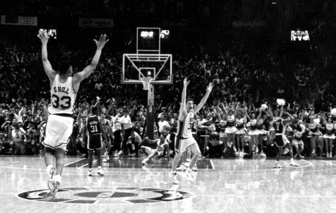 Christian Laettner of Duke celebrates after hitting the game-winning shot against the Kentucky Wildcats in the 1992 East Regional Final of the NCAA Tournament. (Photo courtesty of Duke Athletics)