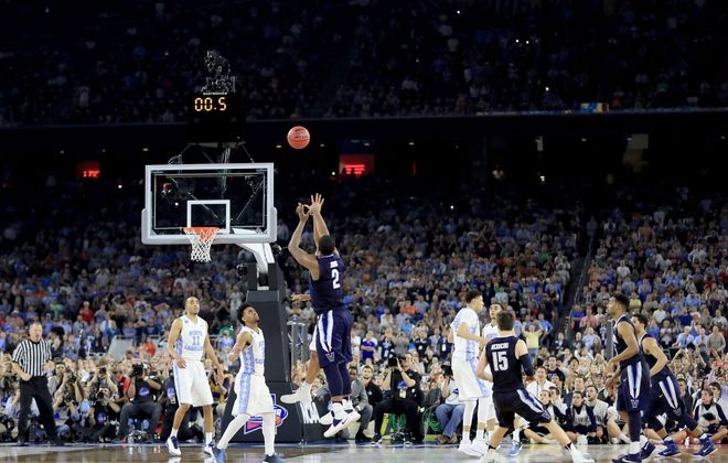 Villanova's Kris Jenkins releases the shot that beat North Carolina in the 2016 national championship game. (Getty Images)