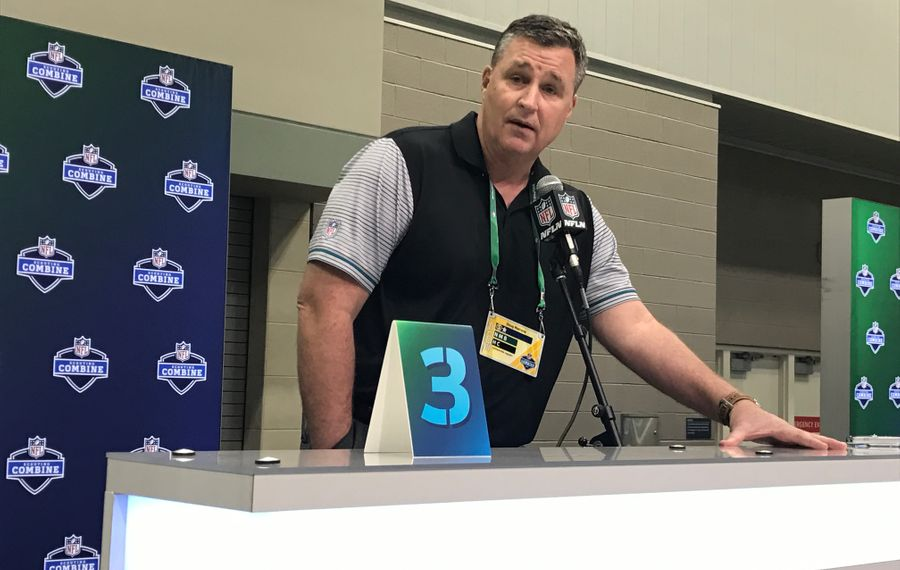 Former Bills coach Doug Marrone, now with the Jaguars, talks with reporters at the NFL Scouting Combine. (Jay Skurski/Buffalo News)