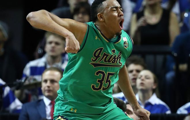 Bonzie Colson of the Notre Dame Fighting Irish reacts after drawing a foul on a basket against the Duke Blue Devils during the championship game of the 2017 Men's ACC Basketball Tournament at the Barclays Center on March 11, 2017 in New York City.  (Photo by Al Bello/Getty Images)