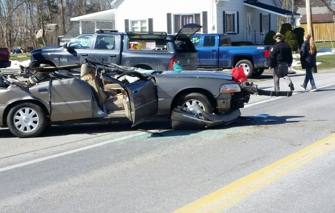 The  scene of Thursday morning's fatal collision in the Town of Alabama. (State Police photo)