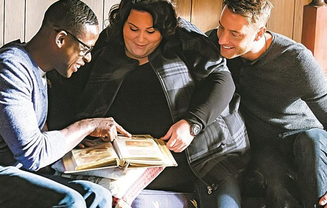 """Sterling K. Brown as Randall, Chrissy Metz as Kate, Justin Hartley as Kevin from """"This Is Us."""" (Ron Batzdorff/NBC)"""