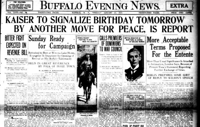 Front page, Jan. 26, 1917: WWI rages on while a Buffalo man is shot in cold blood