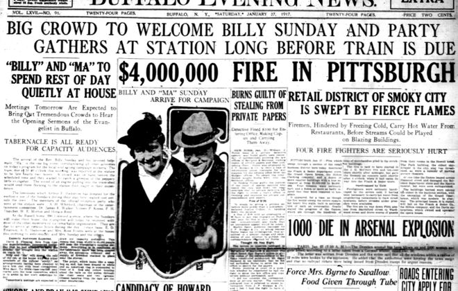 Front page, Jan. 27, 1917: Famed evangelist visits Buffalo; detectives charged with manslaughter