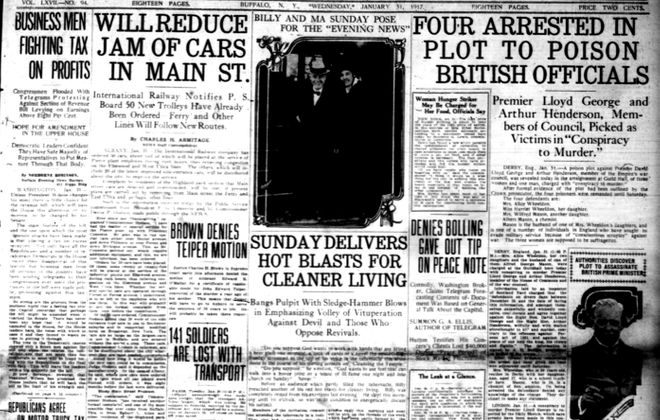 Front page, Jan. 31, 1917: A plot to poison Lloyd George and 50 new trolley cars for Buffalo