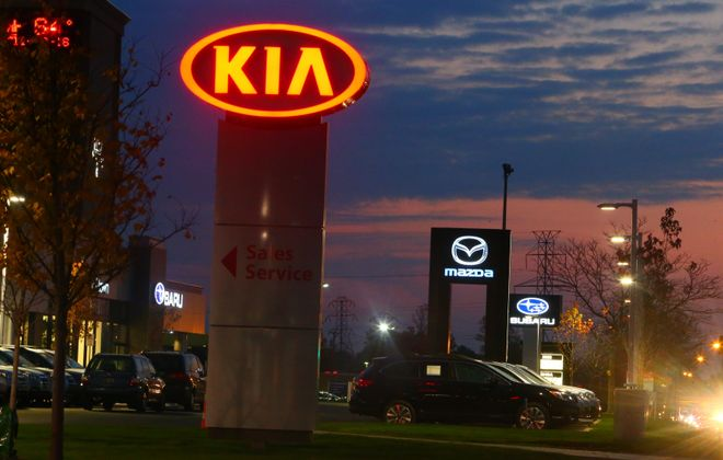 Northtown Automotive has poured $17 million into its new Kia, Mazda and Subaru dealerships on Sheridan Drive in Amherst, making the facilities more visible to motorists. (John Hickey/Buffalo News)