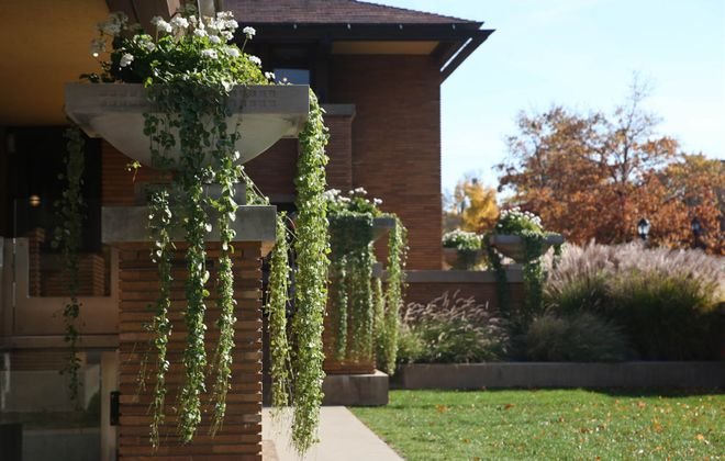 A view of the urns and landscaping outside the Darwin Martin House. (Sharon Cantillon/Buffalo News)