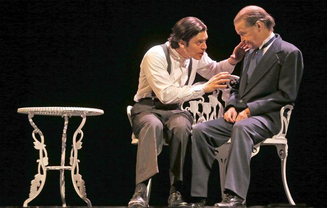 "Jonas Barranca, left, stars as Victor Frankenstein and Gerry Maher as Alphonse Frankenstein in Road Less Traveled Theatre's ""Frankenstein."" (Robert Kirkham/Buffalo News)"