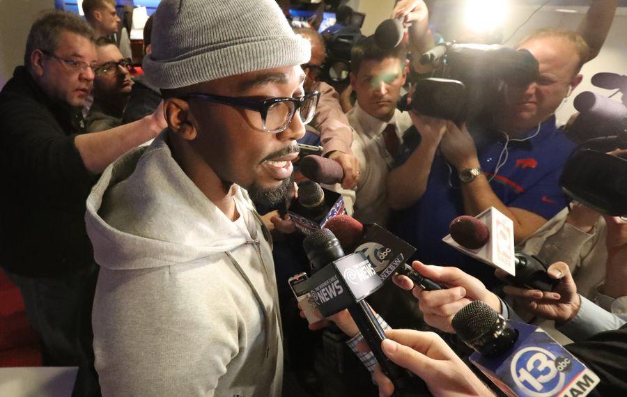 Quarterback Tyrod Taylor kept the same locker this season, but those around him have changed. (James P. McCoy/Buffalo News)