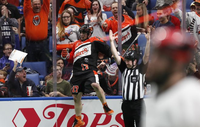 The Buffalo Bandits Ryan Benesch celebrates a goal against the Vancouver Stealth during first-half action at KeyBank Center. (Harry Scull Jr./Buffalo News)