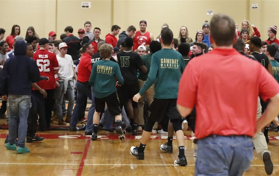 The Monsignor Martin High School Athletic Association is satisfied with the corrective measures St. Francis and Bishop Timon-St. Jude have taken following the post-game incident at St. Francis High School last Friday. No punches were thrown, according to one witness. (Harry Scull Jr./Buffalo News)