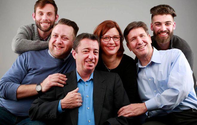 "Michael Seitz, Eric Rawski, Timothy Finnegan, Caitlin Baeumler Coleman, David Granville and Zachary Bellus appear in Buffalo United Artists' production of ""Steve."""