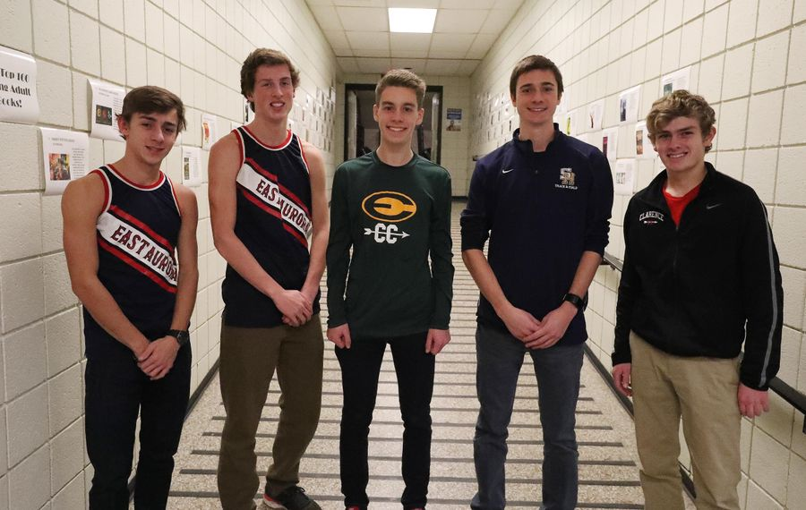 From left: Ian Russ and Patrick Murray, both of East Aurora; Ray Sambrotto (West Seneca East); Chris Nowak (Sweet Home); and Greg Conover (Clarence) made the All-Western New York Cross Country team photo. Team members not pictured are: Ryan Buzby (Grand Island), Connor Doran (Lockport) and Mike Peppy (Maple Grove).