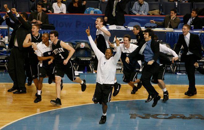 Butler's  bench reacts to the Bulldogs' upset of Maryland. (John Hickey/Buffalo News)