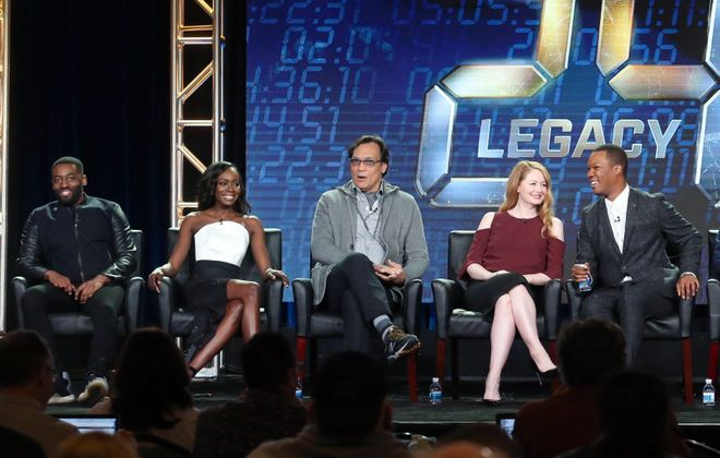 Actors Ashley Thomas, Anna Diop, Jimmy Smits, Miranda Otto, and Corey Hawkins of the television show '24: Legacy' speak onstage during the FOX portion of the 2017 Winter Television Critics Association Press Tour in Pasadena. (Getty Images)