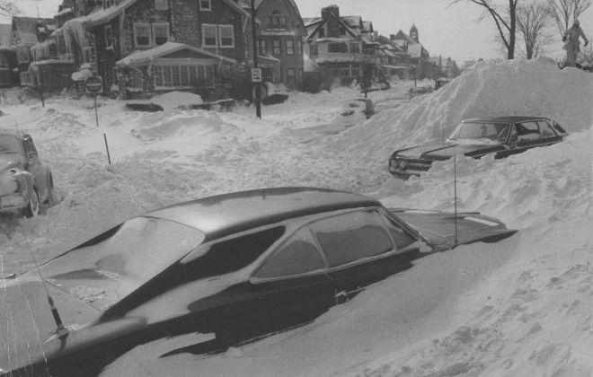 Feb. 1, 1977: Two days into the storm, cars remain snowbound along Elmwood and Bidwell. (Richard W. Roeller/Buffalo Evening News)