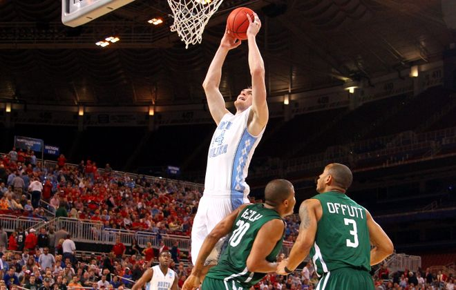 North Carolina's Tyler Zeller grabbed 22 boards in this 2012 OT victory over Ohio. (Getty Images)