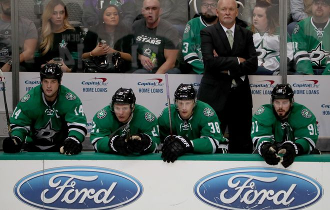Lindy Ruff's Stars are having trouble stopping the puck, but scoring is down, too.  (Getty Images)