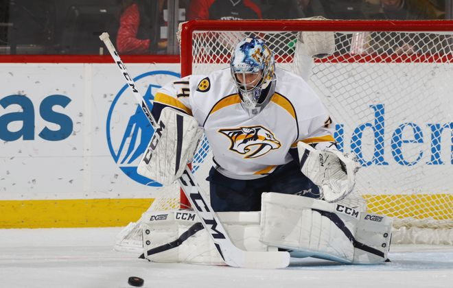 Juuse Saros has a .952 save percentage in nine appearances with Nashville. (Getty Images)