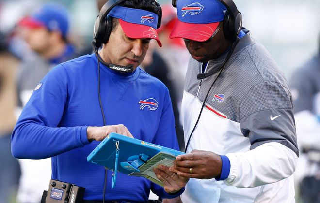 Former Buffalo Bills wide receivers coach Sanjay Lal, left, is joining the Colts. (Getty Images)