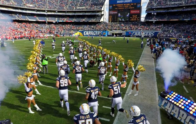 The San Diego Chargers at Qualcomm Stadium on Jan. 1, 2017. (Donald Miralle/Getty Images)