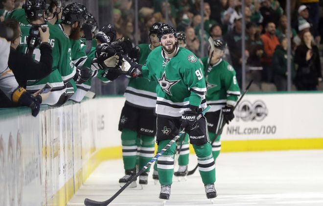 Tyler Seguin and the Stars liked looking up at the scoreboard for replays. Buffalo did not. (Getty Images)