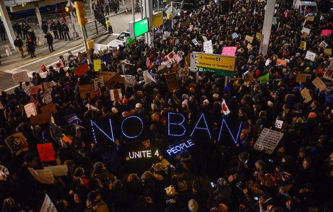 Protestors rally during a demonstration against the Muslim immigration ban at John F. Kennedy International Airport on Jan. 28, 2017 in New York City. (Getty Images)