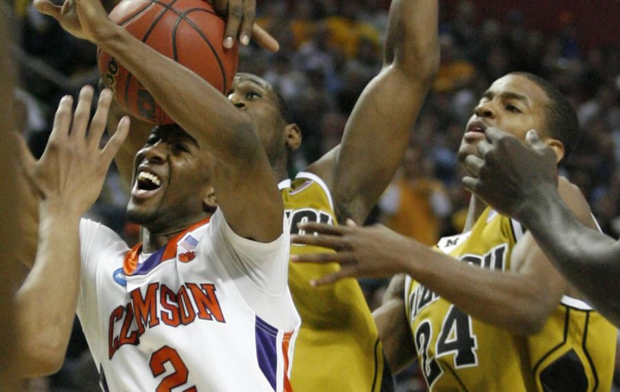 Missouri JT Tiller blocks the shot of Clemson's Demontez Stitt. (James P. McCoy/Buffalo News)