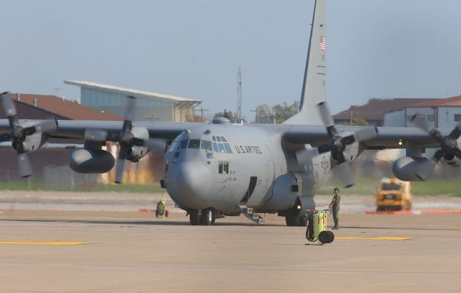 A Lockheed C-130 Hercules plane on the tarmac at the Niagara Falls Air Reserve Station. (John Hickey/News file photo)