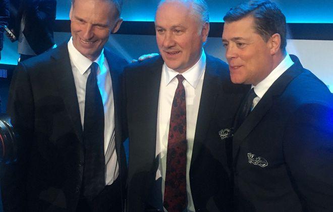 The ex-Sabres at the NHL100 celebration: Dominik Hasek, Gilbert Perreault, Pat LaFontaine (Mike Harrington/Buffalo News).
