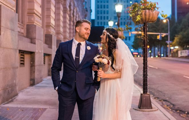 Shanna Hoy and her husband, Jesse, pictured outside the Hotel @ The Lafayette where they got married. (Dawn M. Gibson Photography)