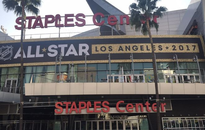 The Staples Center in Los Angeles is decked out for NHL All-Star Weekend (Mike Harrington/Buffalo News).