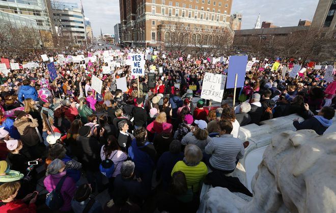 An estimated 2,000 to 3,000 people attended the Women's March in Niagara Square in Buffalo, N.Y. , sponsored by the WNY Peace Center on Saturday, January 21, 2017.  (Mark Mulville / The Buffalo News)
