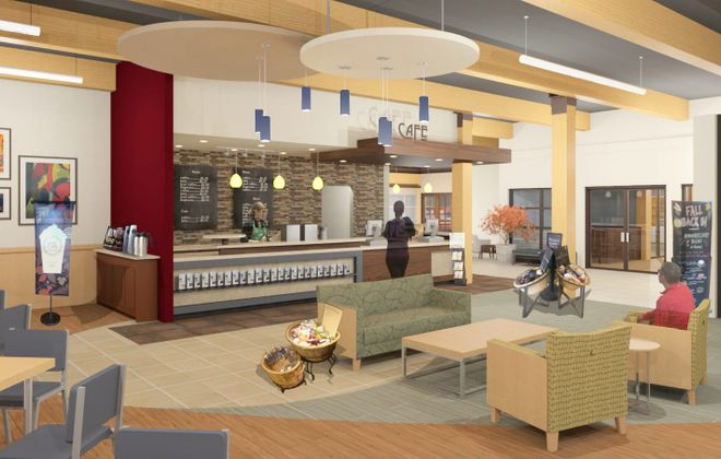 An architect's rendering of the cafe that will be part of West Seneca's new library/community center.