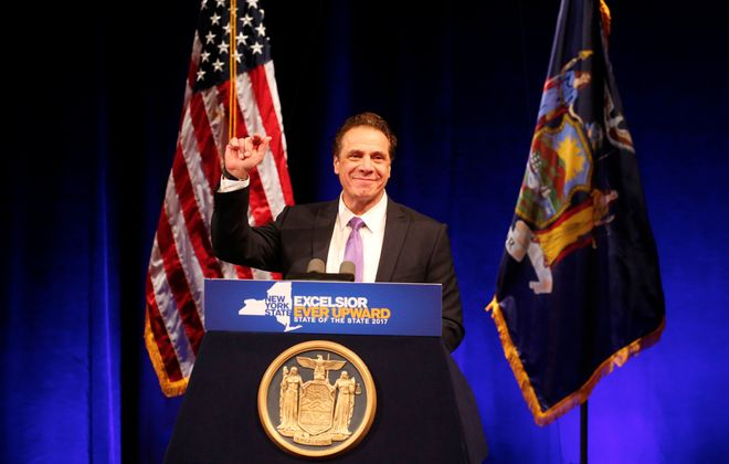 Gov. Andrew M. Cuomo delivers the State of the State address at UB's Center for the Arts. (Mark Mulville/Buffalo News)