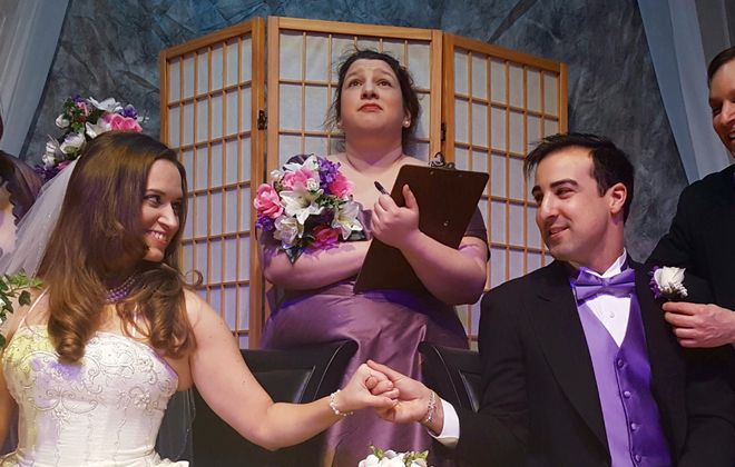 """Rebecca Runge, Heather Reed, Sara Kovacsi, Adam Hayes and Matthew Mooney appear in O'Connell & Company's production of """"It Shoulda Been You."""""""