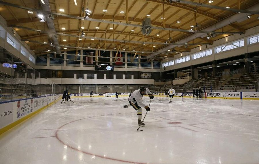 Open skate and Wednesday morning pickup hockey take place indoors at HarborCenter. (Derek Gee/Buffalo News file photo)