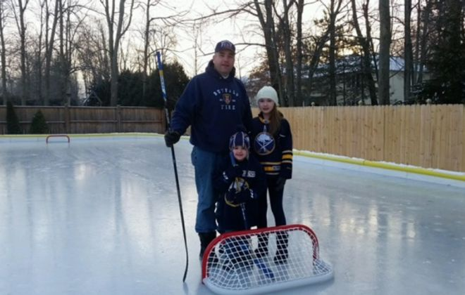 Jeff Tamsen built a backyard ice rink for his kids, Jenna and James. (Photo courtesy  Jeff Tamsen)