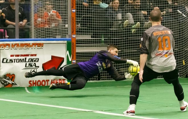 Syracuse Silver Knights goalkeeper Andrew Coughlin makes a save during the 2016 season. (via Syracuse)