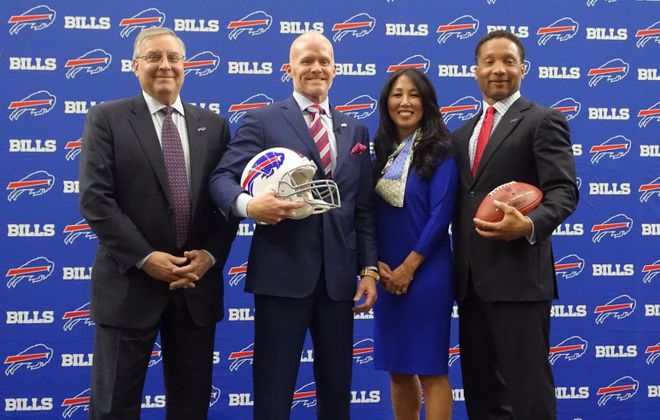 From left: Bills owner Terry Pegula, coach Sean McDermott, owner Kim Pegula and General Manager Doug Whaley. (John Hickey/Buffalo News)