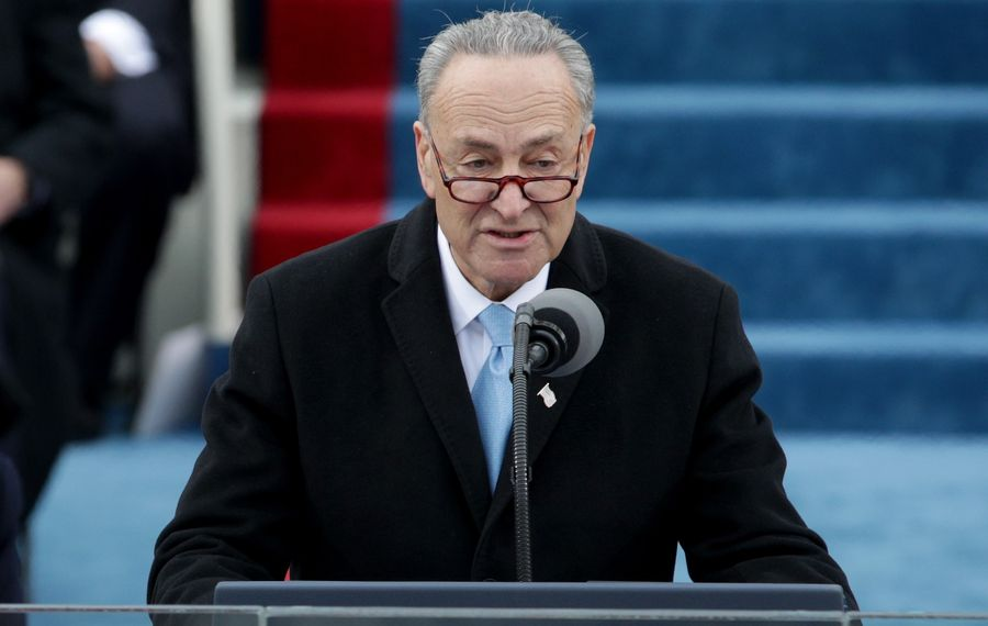 Sen. Charles Schumer (D-NY) speaks on the West Front of the U.S. Capitol on Jan. 20, 2017, in Washington, D.C.  (Alex Wong/Getty Images)