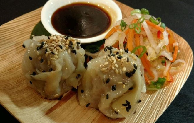 Pork shumai dumplings with spicy slaw and garlic soy will be the Buffalo duo's dish at Taste of the NFL. (Seabar)