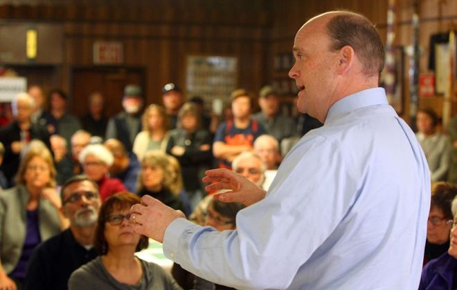 Five Democrats competed in Tuesday's primary for the chance to challenge 23rd District Congressman Tom Reed, shown in a file photo conducting a town meeting, in November.        (Mark Mulville/Buffalo News)
