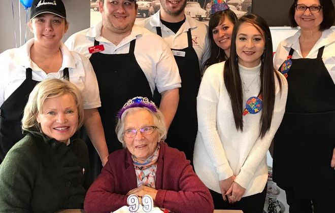 Greta Anderson, in red, celebrated her 99th birthday at the restaurant she founded, Anderson's Frozen Custard. (via Anderson's)