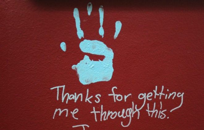 This photo from 2013 shows a handprint of a child who was treated at the Children's Psychiatric Center in West Seneca. (Sharon Cantillon/Buffalo News)