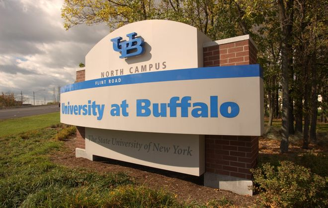 A sign welcoming visitors to UB's North Campus. (Robert Kirkham/Buffalo News file photo)