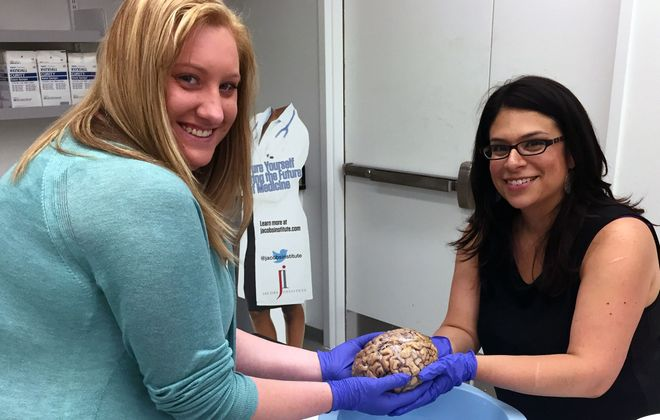 As part of the NCCC MOMs program, Erica Cattoi (left) attended 'Brain Bootcamp' at the Jacobs Institute by invitation of WNY Women's Foundation board member, Allison Kupferman (right). There, she connected with her current employer, AMRI (Albany Molecular Research, Inc.).